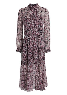 Intermix Selena Silk Floral Pleated Dress