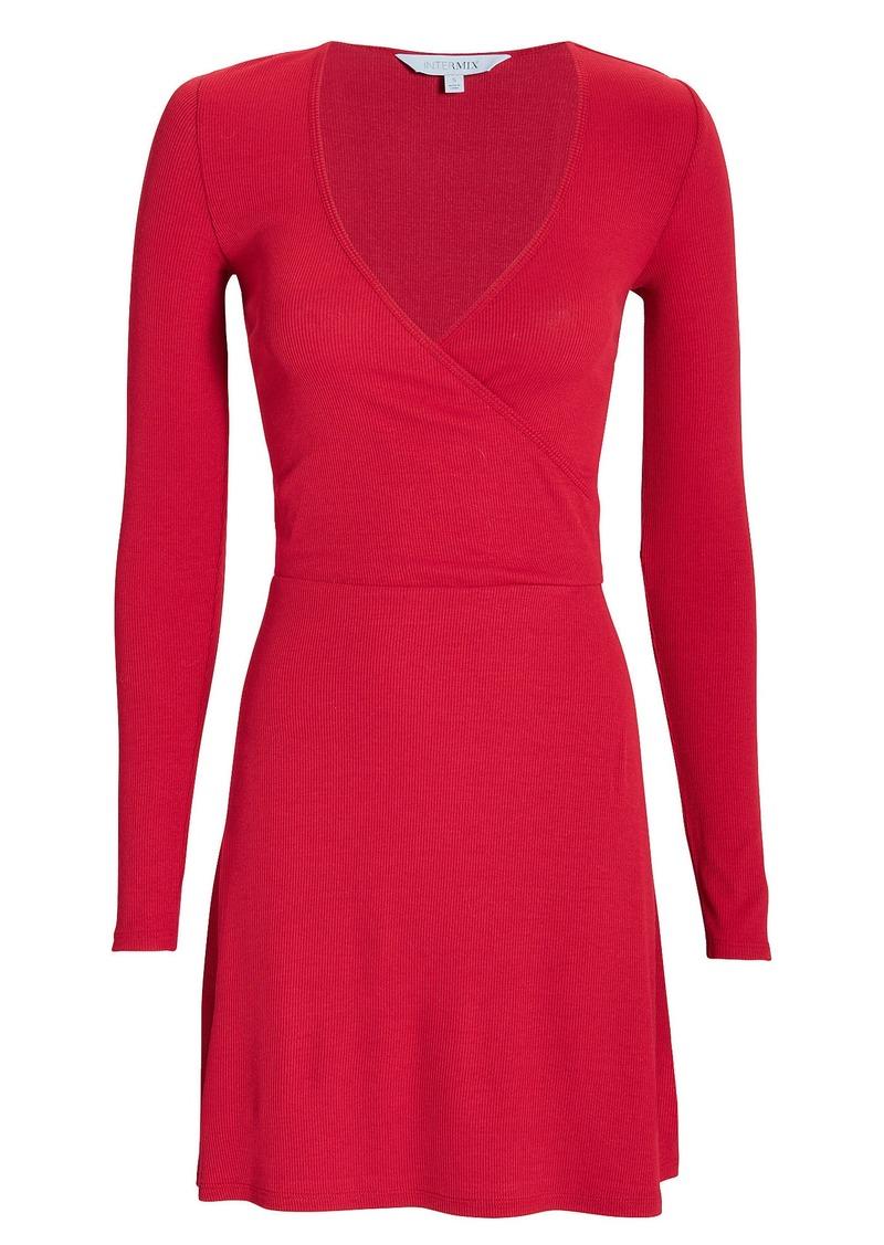 Intermix Serena Wrap Front Knit Mini Dress