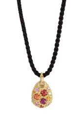 Ippolita 18K Gold Fortuna Milgrain Pebble Sapphire & Diamond Cord Necklace