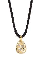 Ippolita 18K Gold Fortuna Small Pebble White & Brown Diamond Cord Necklace - 0.41 ctw