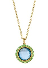 Ippolita 18K Gold Lollipop(R) Mini London Blue Topaz & Tsavorite Pendant Necklace