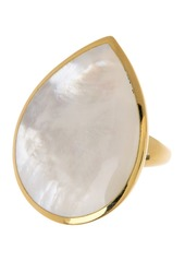 Ippolita 18K Gold Polished Rock Candy Large Mother-of-Pearl Teardrop Ring - Size 7