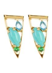 Ippolita 18K Gold Prisma Swiss Blue Topaz, Tsavorite, & Turquoise Post Earrings