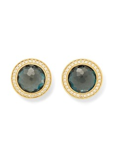 Ippolita 18kt yellow gold Lollipop London blue topaz and diamond stud earrings