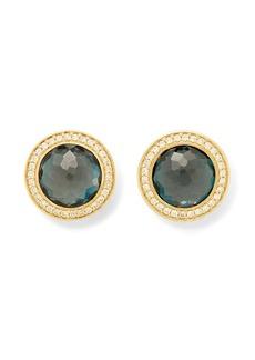 Ippolita 18kt yellow gold Lollipop London blue topaz and diamond stud earrings