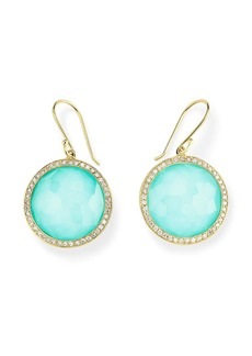 Ippolita 18kt yellow gold Lollipop turquoise and clear quartz earrings