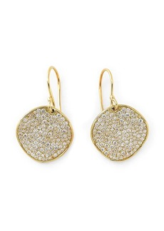 Ippolita 18kt yellow gold medium Flower pave diamond drop earrings