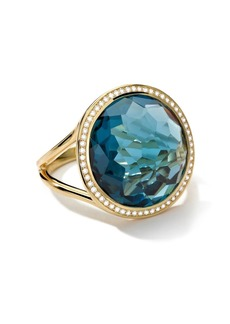 Ippolita 18kt yellow gold medium Lollipop diamond and London blue topaz ring