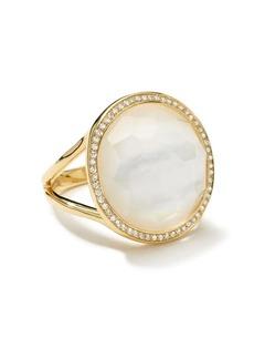 Ippolita 18kt yellow gold medium Lollipop diamonds, mother-of-pearl and clear quartz ring