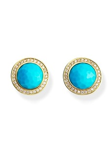 Ippolita 18kt yellow gold mini Lollipop diamond and turquoise studs