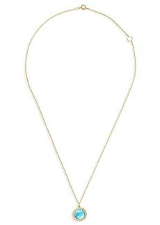 Ippolita 18kt yellow gold mini Lollipop Swiss blue topaz and diamond pendant necklace