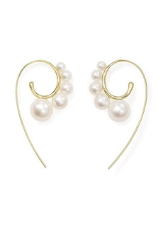Ippolita 18kt yellow gold Nova Tribal 5 stone curved ear wire pearl earrings