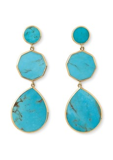 Ippolita 18kt yellow gold Polished Rock Candy Crazy 8's 3 turquoise drop earrings