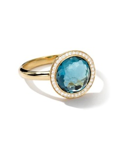 Ippolita 18kt yellow gold small Lollipop diamond and London blue topaz ring