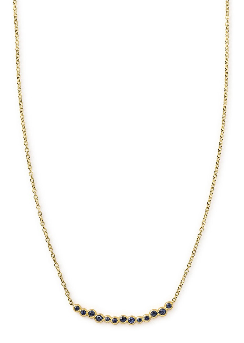 Ippolita 18k Glamazon Stardust Smile Bar Necklace with Blue Sapphires