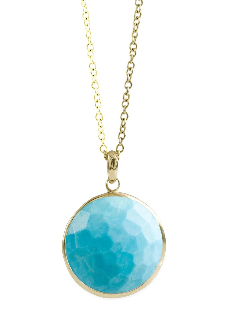 Ippolita 18k Gold Rock Candy Lollipop Pendant Necklace in Turquoise