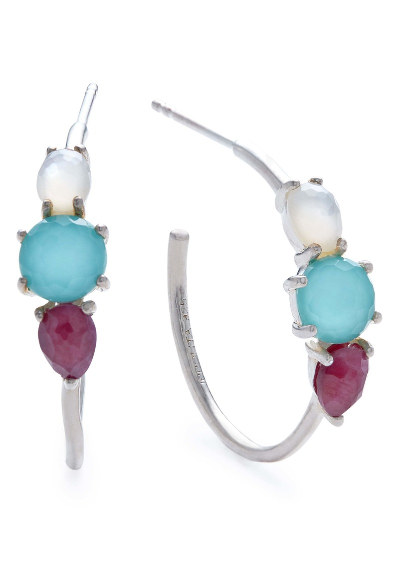 Ippolita Rock Candy Prong Set 3-Stone Hoop Earrings