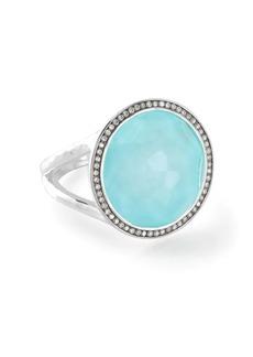 Ippolita medium Lollipop diamonds, turquoise and clear quartz ring
