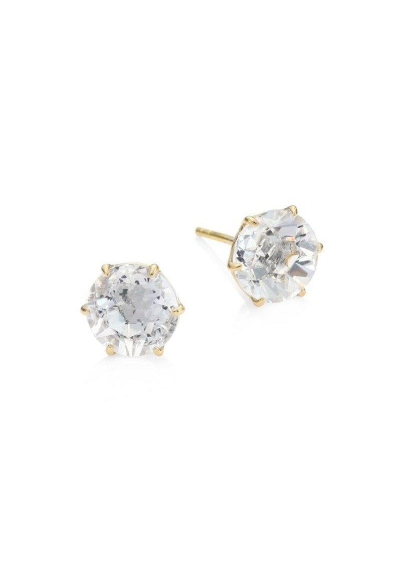 Ippolita Rock Candy Medium 18K Yellow Gold & Clear Quartz Round Stud Earrings
