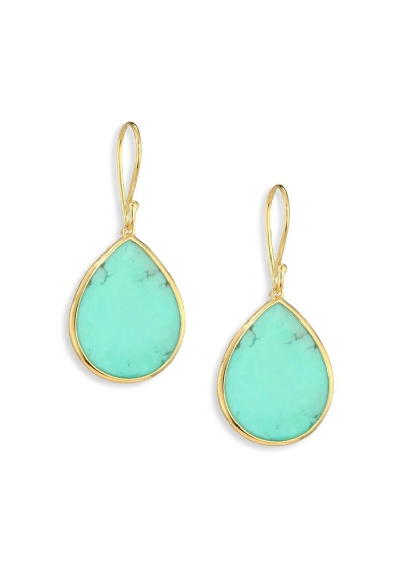 Ippolita Polished Rock Candy Small 18K Yellow Gold & Turquoise Teardrop Earrings