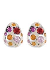 Ippolita Sterling Silver Fortuna Pebble Burnished Sapphire & Diamond Stud Earrings