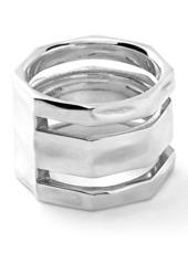 Ippolita Sterlnig Silver Senso 3 Band Octagonal Ring - Size 6