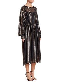 IRO Beloved Metallic Stripe Midi Dress