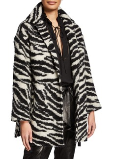 IRO Bera Zebra-Print Single-Breasted Coat