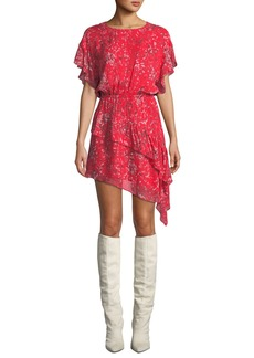 IRO Blame Printed Asymmetrical Short Dress