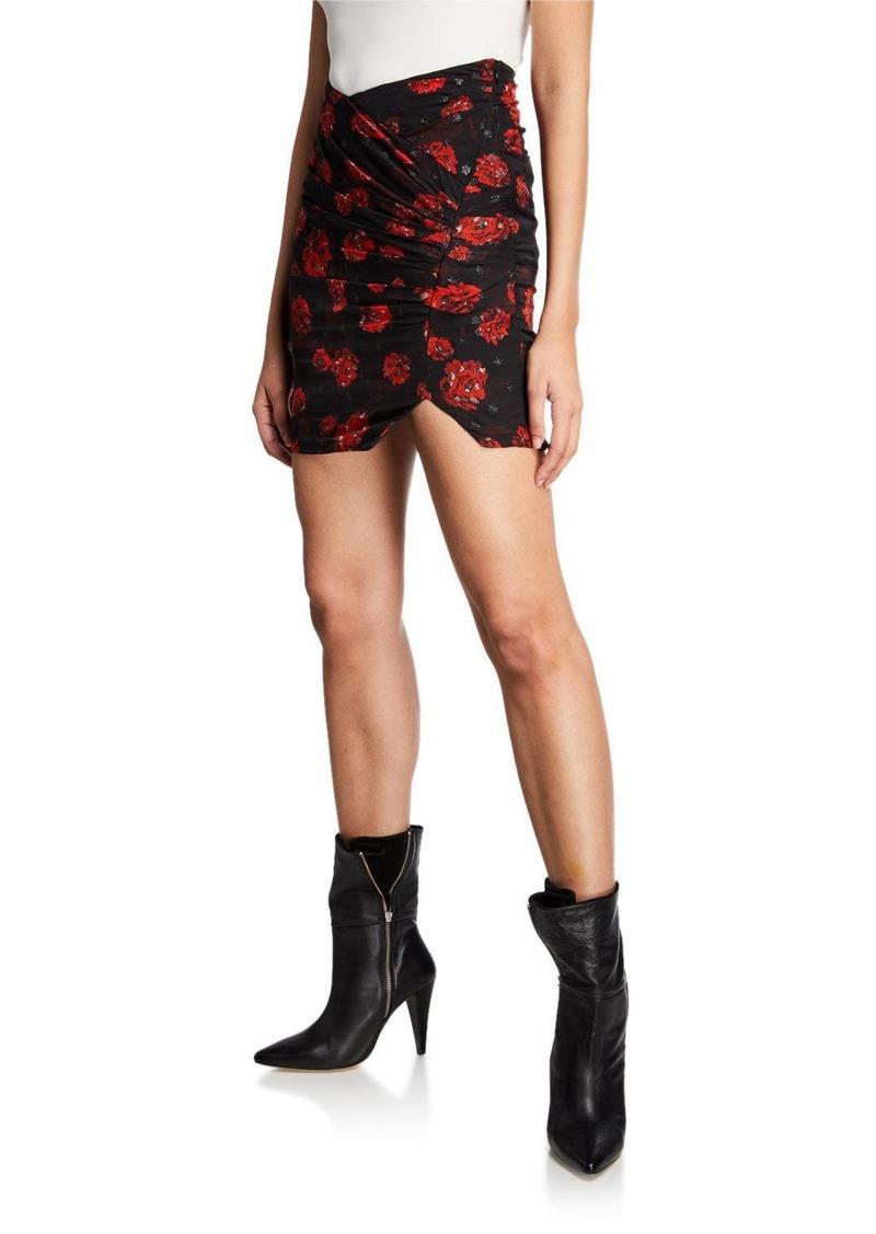 IRO Bootab Floral Ruched Mini Skirt