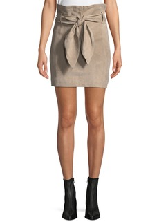 IRO Brassi Belted High-Rise Suede Skirt