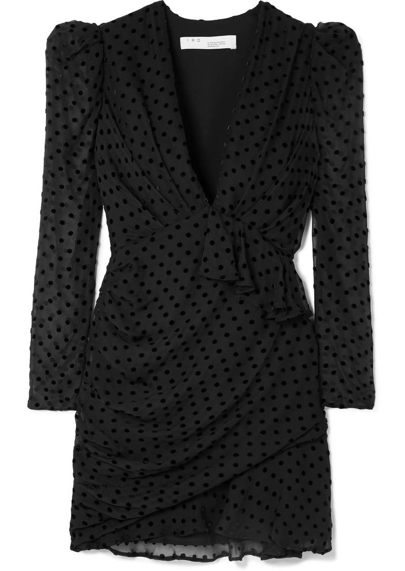 IRO Callagan Polka-dot Flocked Silk-blend Chiffon Mini Dress