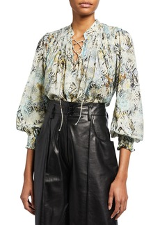 IRO Calli Abstract Printed Lace-Up Top