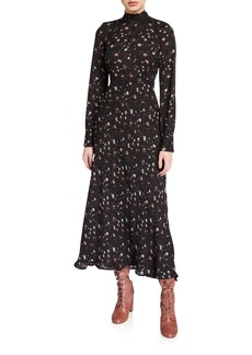 IRO Casual High-Neck Floral Long-Sleeve Dress