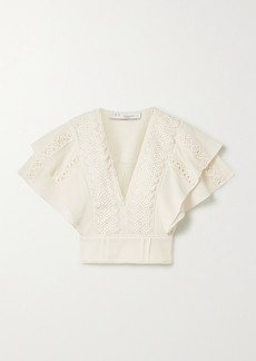IRO Celony Cropped Crochet-trimmed Cotton-crepon Top