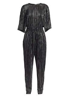 IRO Chimbote Metallic Pleated Popover Jumpsuit