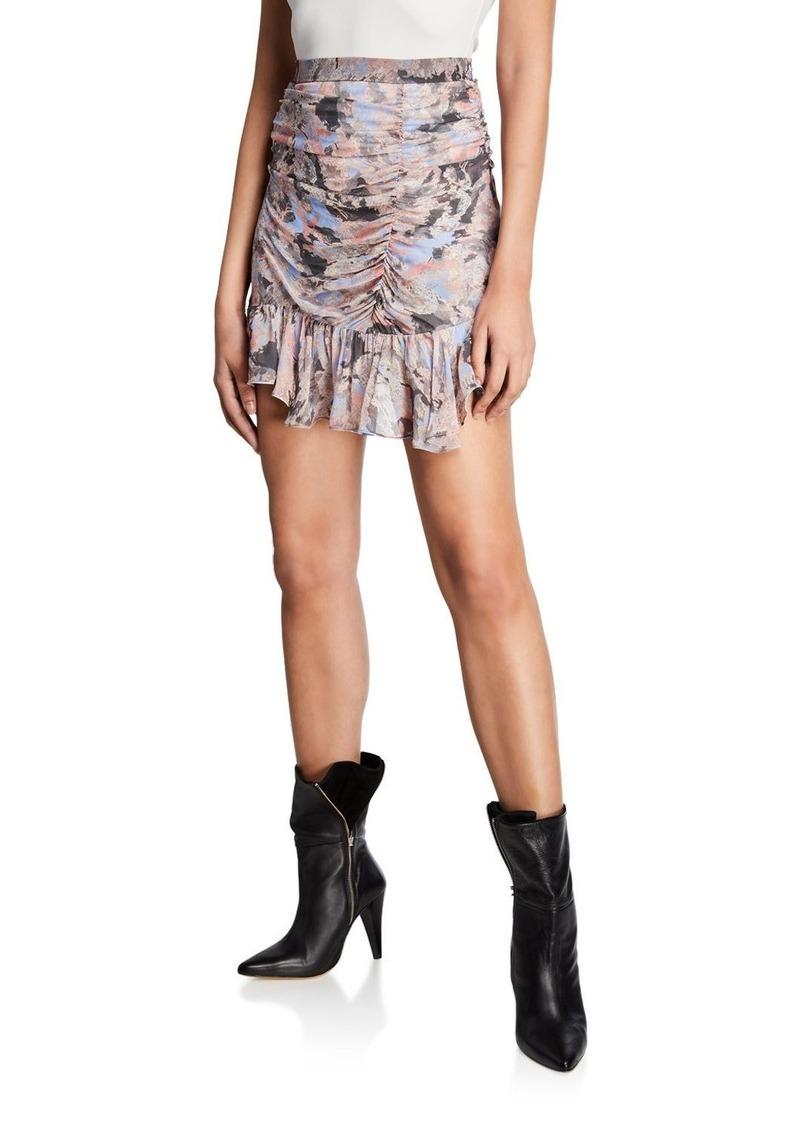 IRO Chronic Ruched Ruffle-Hem Mini Skirt
