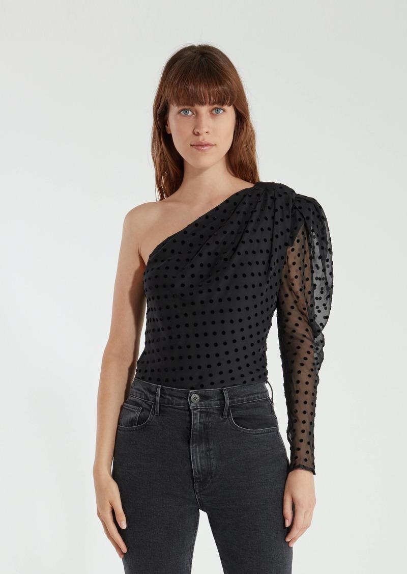 Coatli One Shoulder Puff Sleeve Silk Top