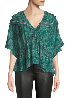 IRO Date Printed Ruffle Viscose Top