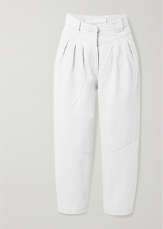 IRO Despres Cropped Pleated High-rise Tapered Jeans
