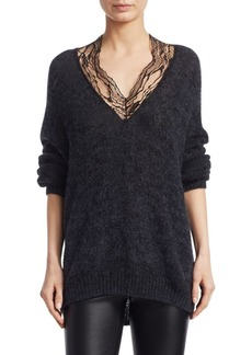 IRO Diamon Oversize Lace V-Neck Sweater