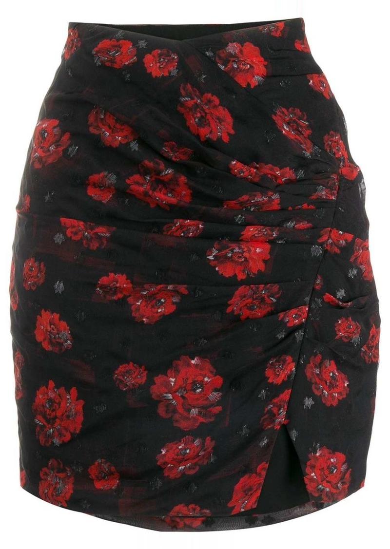 IRO draped rose print mini skirt