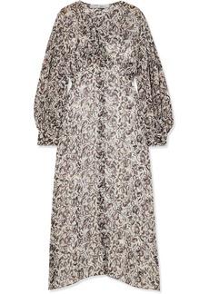 IRO Elea Cutout Printed Crepe De Chine Midi Dress