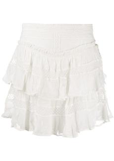 IRO embroidered tiered mini skirt
