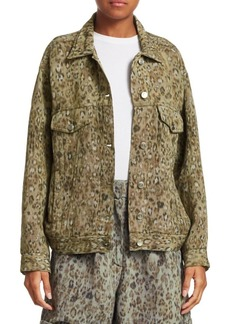 IRO Empathy Leopard Oversized Jean Jacket