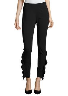 IRO Fholan Slim-Fit Ponte Pants w/ Ruffled Trim