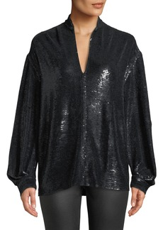 IRO Great Sequin Long-Sleeve Tunic Top