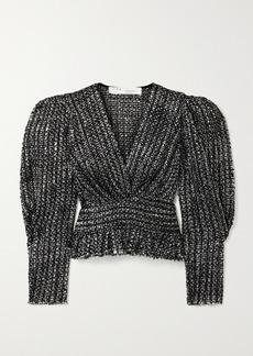 IRO Guarda Frayed Metallic Bouclé-tweed Top