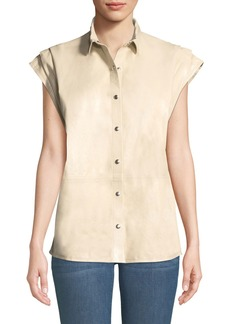 IRO Hally Snap-Front Leather Short-Sleeve Top