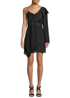 IRO Haven Long-Sleeve Silk Short Dress w/ Lace
